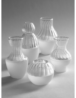 VASES RETRO TRANSPARENT/WHITE ASS/5