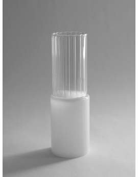 VASE LINIEN SMALL D10 H28 CLEAR/WEIß VP4