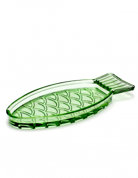 DISH S TRANSPARENT GREEN FISH & FISH