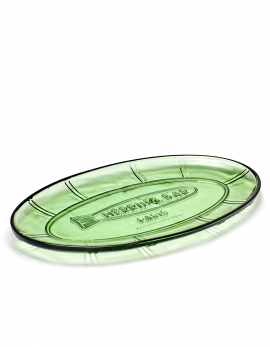 OVAL SERVING PLATE L TRANSPARENT GREEN FISH&FISH