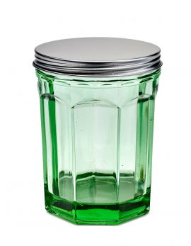JAR WITH LID M TRANSPARENT GREEN FISH & FISH