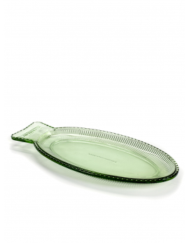 FISH DISH FLAT 35X16 H2,2 TRANSPARENT GREEN