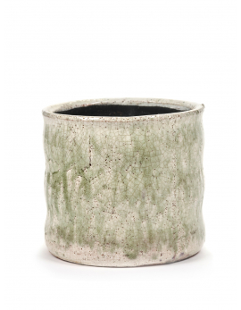 FLOWER POT L GREEN CRAQUELE