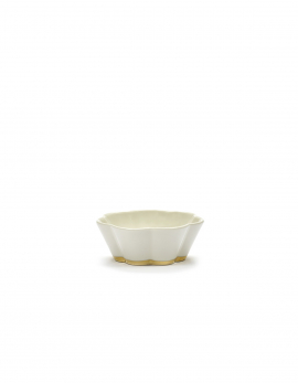 BOWL RIBBED S WHITE/GOLD DESIREE