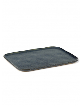 PLATE RECTANGULAR MERCI N°1 XL 32x23 H1,4 BLUE/GREY