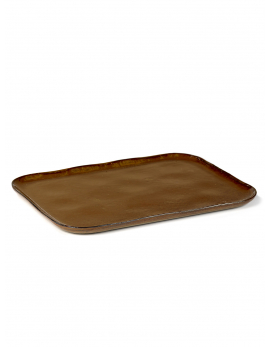 PLATE RECTANGULAR MERCI N°1 XL 32x23 H1,4 OCRE/BROWN