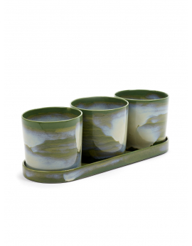 HERBS POTS L ASS/3 WITH SAUCER L 12X12X11,3 CM