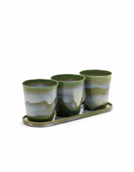 HERBS POTS S ASS/3 WITH SAUCER S 8,8X8,8X9,6 CM