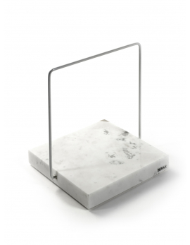 MARBLE PLATTER SQUARE CARRARA M + HANDLE 15x15xH1,8