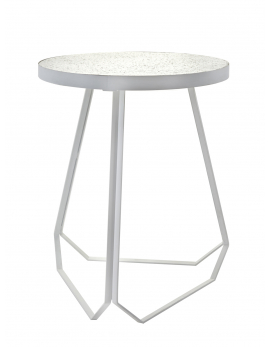 TABLE D'APPOINT STUDIO SIMPLE D60 H75 TERRAZZO/METAL BLANC