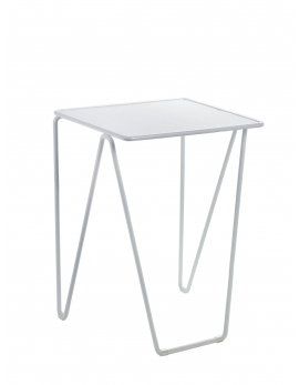 TABLE D'APPOINT NESTING MEDIUM 35x30 H47 ACIER BLANC