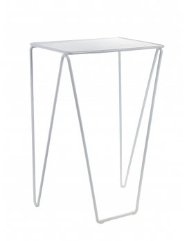 TABLE D'APPOINT NESTING LARGE 40x30 H62 ACIER BLANC