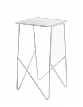 TABLE D'APPOINT FISH & FISH MEDIUM 30X30 H55 ALU BLANC