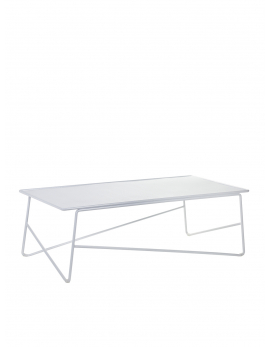 TABLE BASSE FISH & FISH LARGE 90X45 H30 ALU BLANC