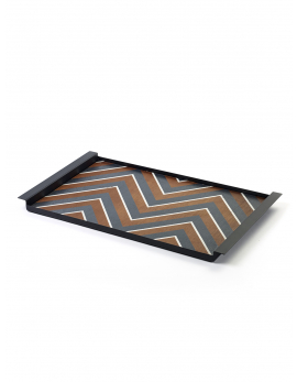 DECORATIVE TRAY ZIGZAG BLACK CHARLES