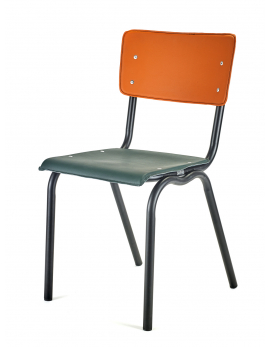 CHAIR VINYL-VINYL GREEN/ORANGE BLACK FRAME