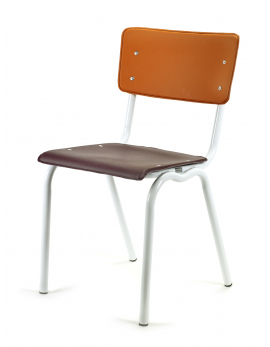 CHAIR PURPLE/ORANGE SEAT+ WHITE FRAME VINYL-VINYL