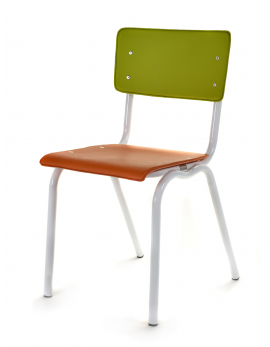 CHAIR VINYL-VINYL ORANGE/GREEN WHITE FRAME