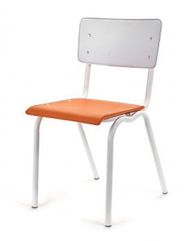 CHAIR VINYL-VINYL ORANGE/WHITE WHITE FRAME