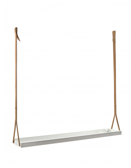 PLANT HANGER+LEATHER BELTS WHITE 115X20 H4