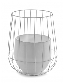 POT IN A CAGE WHITE D37 H46