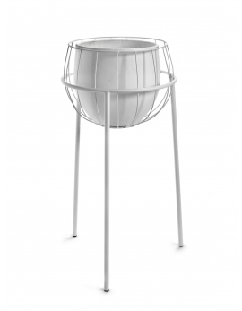 PLANT STAND CAGE INCL POT WHITE 40X40H74,5