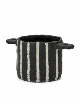 POT MARIE PAPER MACHE BLACK VERTICAL STRIPES D16,5H13,5