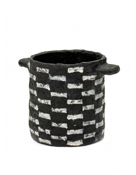 POT MARIE PAPER MACHE BLACK HORIZONTAL STRIPES D14,5H15