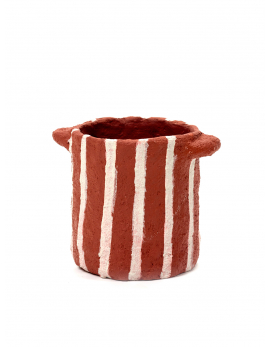 POT MARIE PAPER MACHE RED VERTICAL STRIPES D12H13