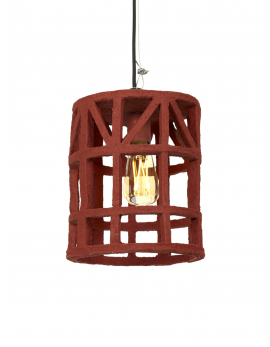 HANGING LAMP PAPER MACHE RED S D23 H27