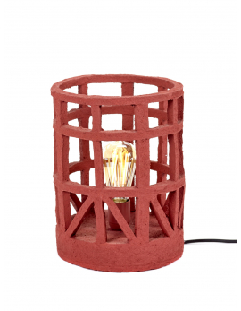 LAMPE DE TABLE PAPIER MACHE ROUGE S D23 H27