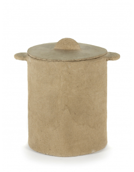 POT + LID MARIE PAPER MACHE BROWN D35H40