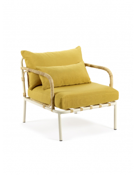 LOUNGE CHAIR WHITE FRAME + OCHER CUSHIONS CAPIZZI