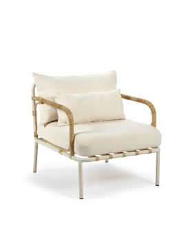 OUTDOOR ARMCHAIR FRAME WHITE CUSHIONS OFF WHITE CAPIZZI