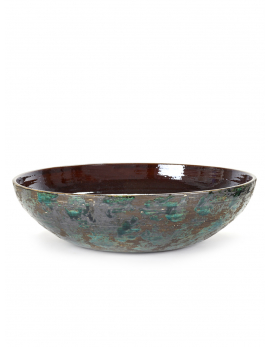 DECORATIVE PLATE L GREEN BROWN PUNCH