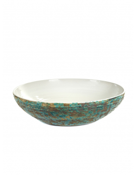 DECORATIVE PLATE L GREEN WHITE PUNCH