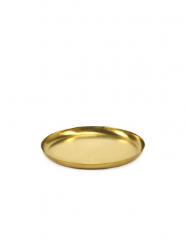 SERVING DISH S BRUSHED STEEL GOLD