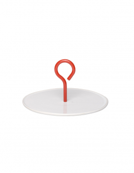PLATTER M WHITE HANDLE RED MY TRAY