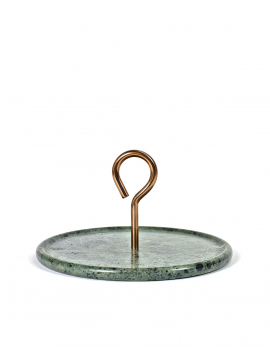 PLATTER M GREEN MARBLE HANDLE COPPER MY TRAY