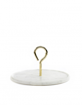 PLATTER M WHITE MARBLE HANDLE GOLD MY TRAY