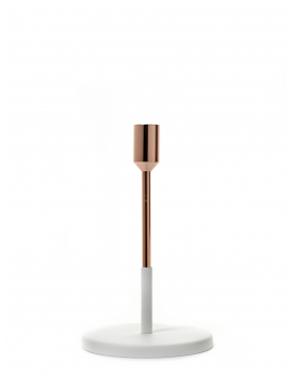 CANDLE HOLDER SMALL D12 H19 COPPER/WHITE
